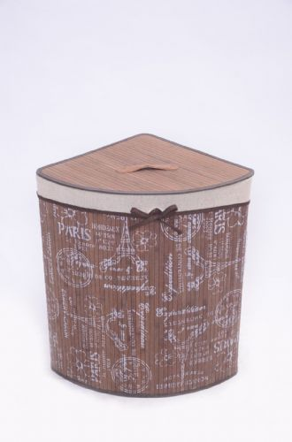 BROWN FLEUR DE PARIS BAMBOO LAUNDRY BASKET WASHING CLOTHES FOLDABLE STORAGE BIN - CORNER